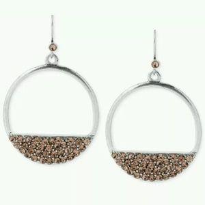 Kenneth Cole Round Silver Earrings w/ Rhinestones